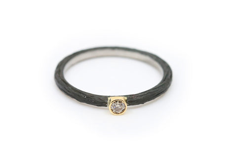Black Cobalt Chrome Diamond Stacker Ring
