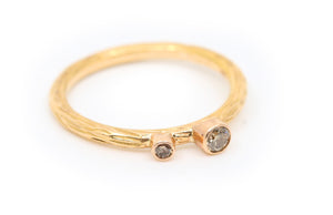 Rose Gold with Two Cognac Diamonds Stacker Ring