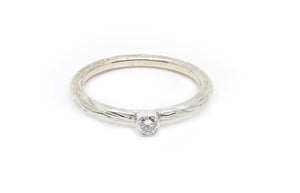White Gold with White Diamond Stacking Ring
