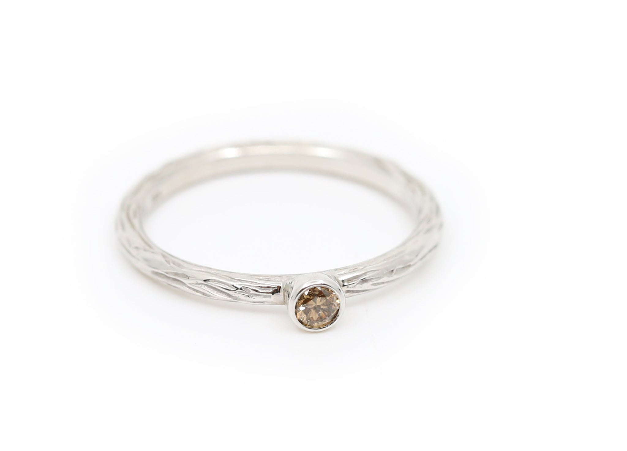 White Gold With Cognac Diamond Stacking Ring