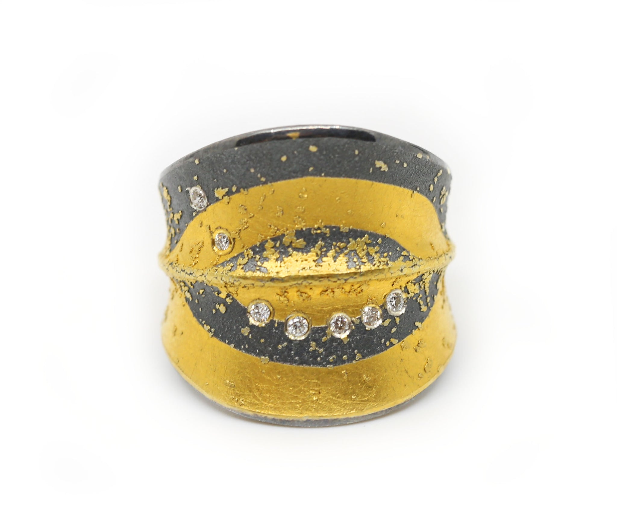Gray and Gold Ring with Diamonds