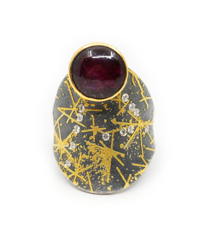 Sterling Silver and Yellow Gold Ring with Rubies and Diamonds