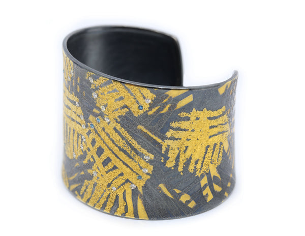 Wide Yellow Gold and Sterling Silver Cuff with Diamonds