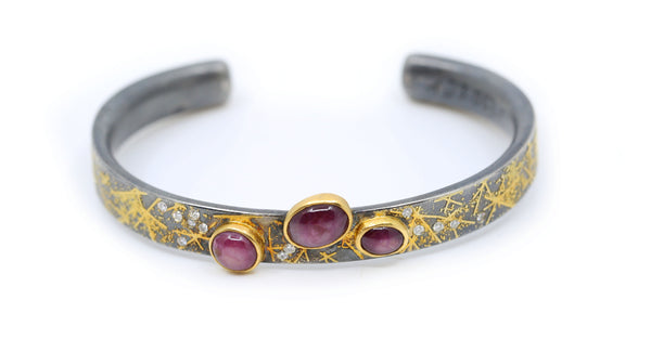 Yellow Gold and Sterling Silver Cuff with Diamonds and Rubies