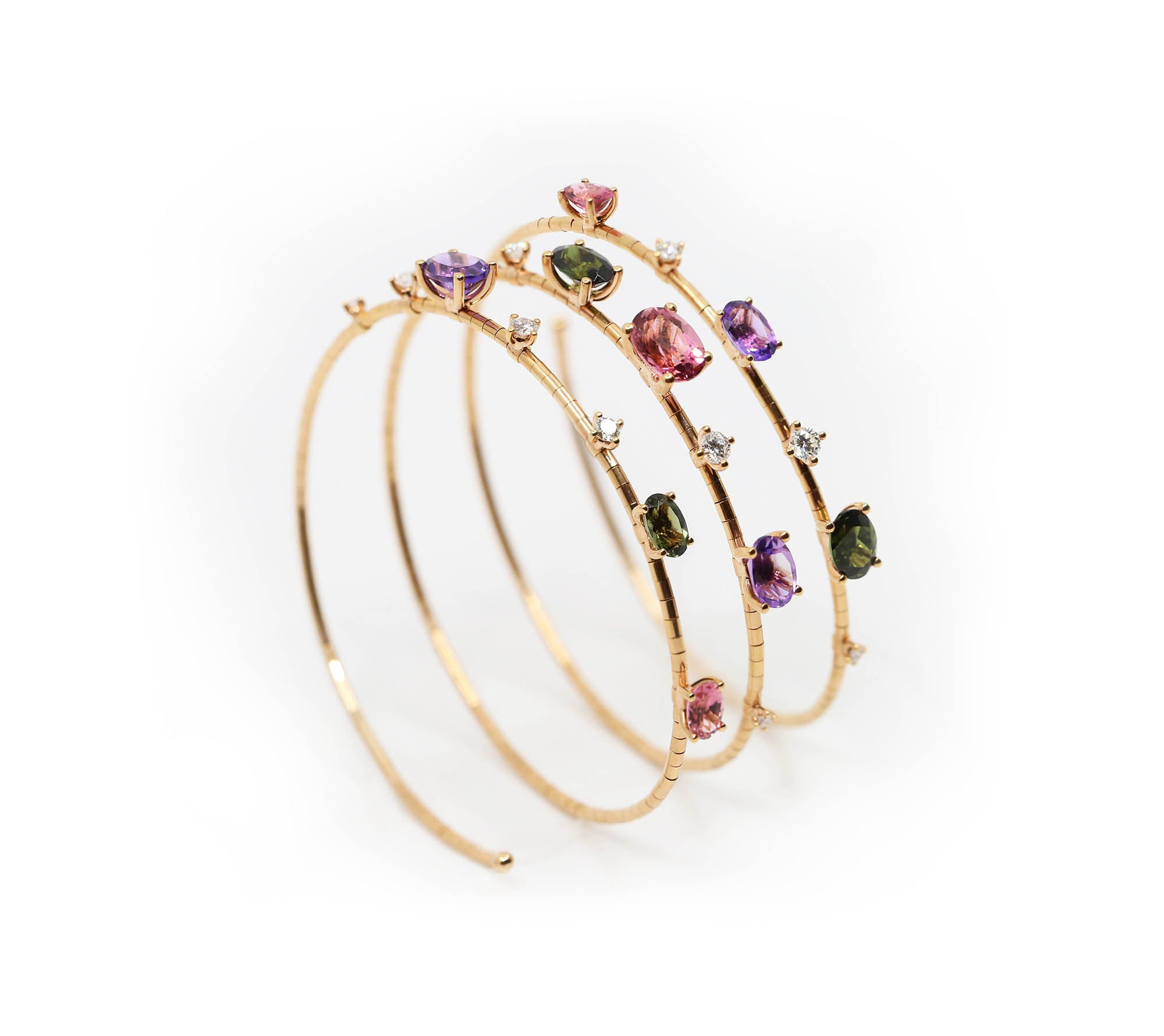 Diamond and Tourmaline Triple Wrap Bracelet