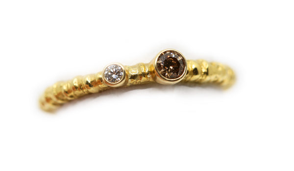 Large Gold with White and Cognac Diamond Ring