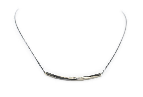 Twisted Black Cobalt and White Gold Diamond Bar Necklace