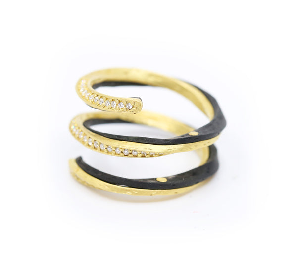 Gold and Black Cobalt Chrome with Diamonds Spiral ring