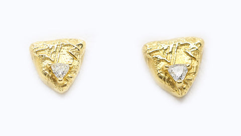 Trigon Gold and Diamond Stud Earrings