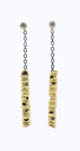 Gold with 1 Diamond on Chain Earrings