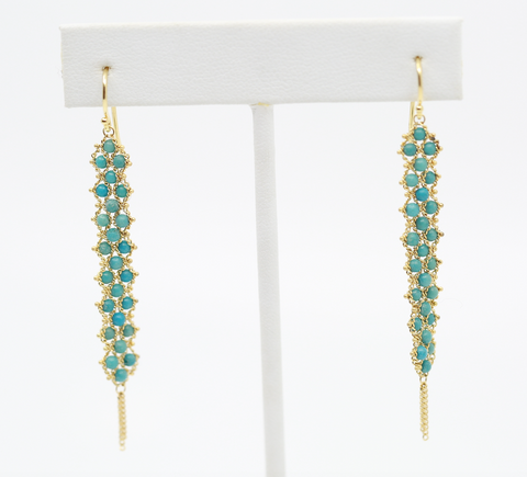 Turquoise textile drop earrings