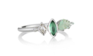 White Gold Emerald Leaf Ring