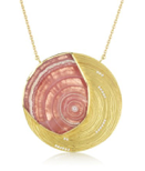 Gold and Rhodochrosite Medallion Necklace