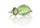Tourmaline and Emerald Leaf Ring