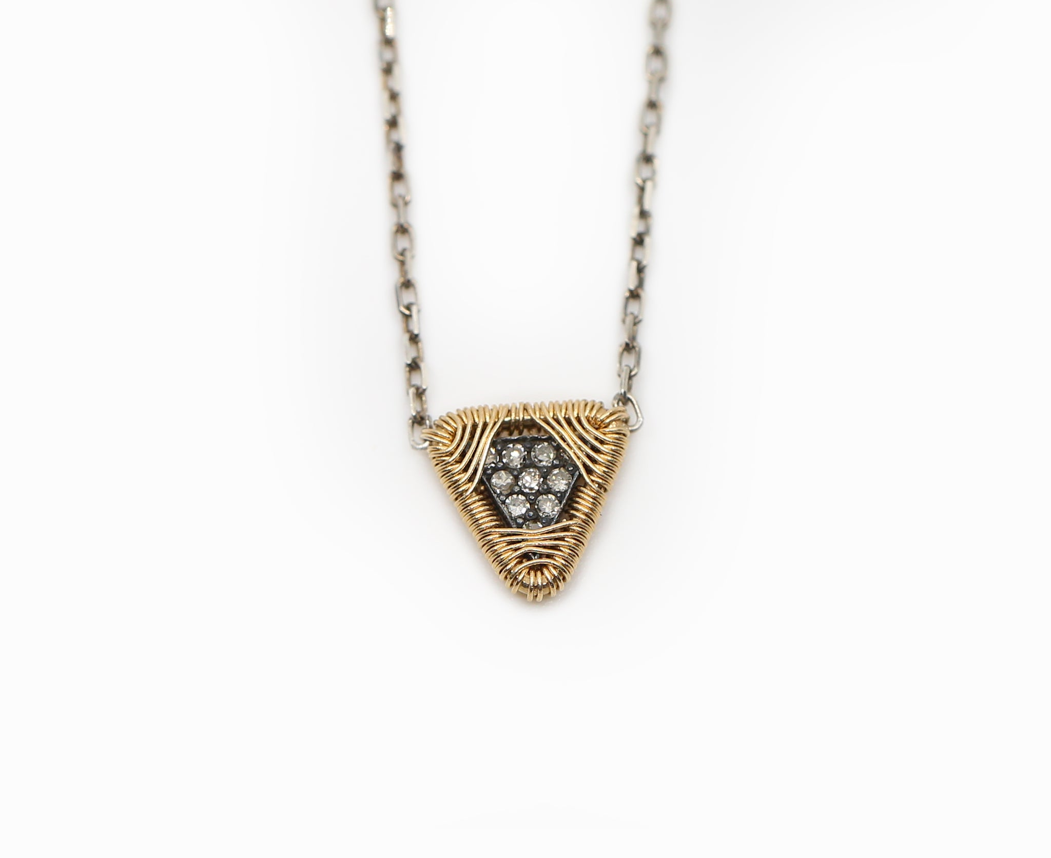 Triangle White Diamond Necklace