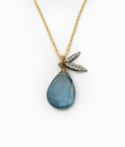 Pear Shaped Aquamarine and Diamond Pave Leaves