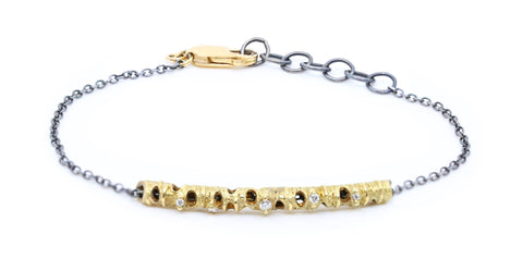 Gold with 5 Diamonds on Silver Chain Bracelet