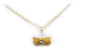 Gold Flying Seed Pendant Necklace