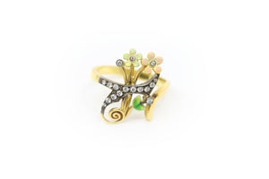 Green and Pink Flower Ring