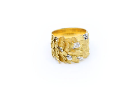 Thick Gold and Diamond Skin Ring