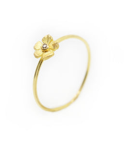Flower with diamond Staking Ring