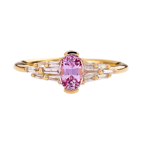 Rose Sapphire and White Diamond Ring