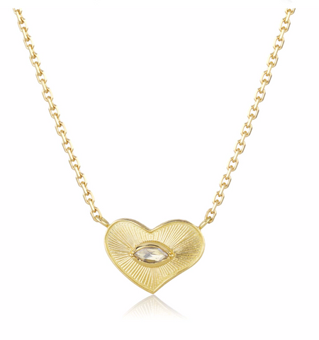 Gold Heart Engraved Diamond Necklace