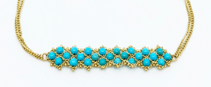 Turquoise and gold woven bracelet