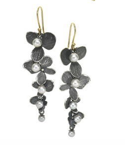 4 Hydrangea Grey Sliver with Pearl Earrings