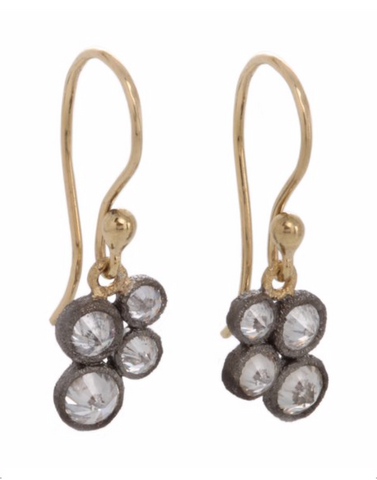 4 Inverted Diamonds in Darkened White Gold Bezels Earrings
