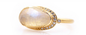 Moonstone with Halo of Diamonds Ring