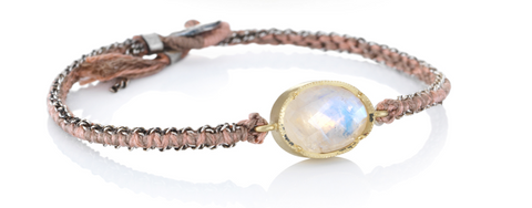 Oval Moonstone Silk Bracelet