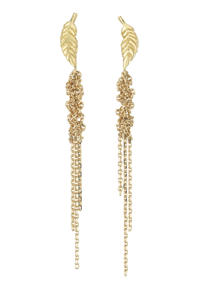 Waterfall Leaf Yellow Gold Earrings