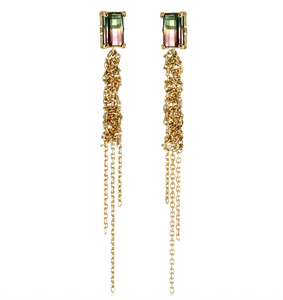 Waterfall Rainbow Tourmaline Yellow Gold Earrings