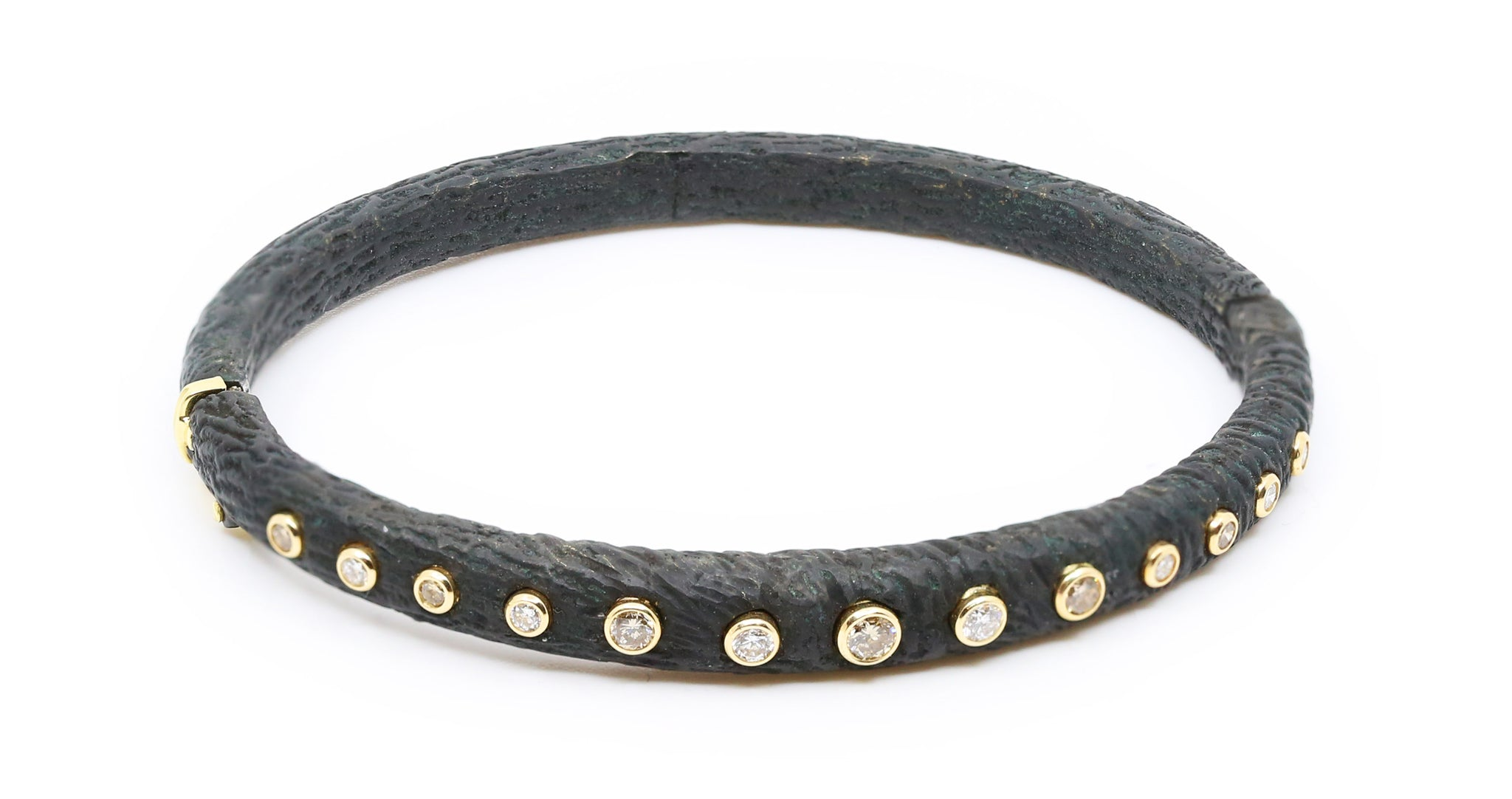 Black Cobalt Chrome with White and Cognac Diamond Bracelet