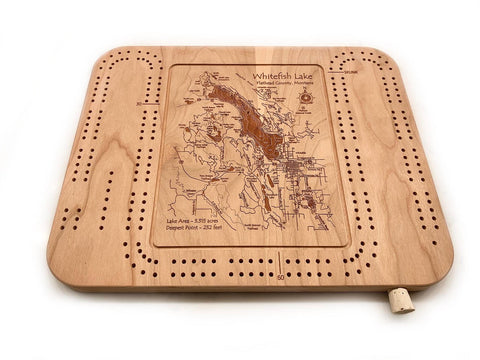 Etched Cribbage Board - Whitefish Lake and Town