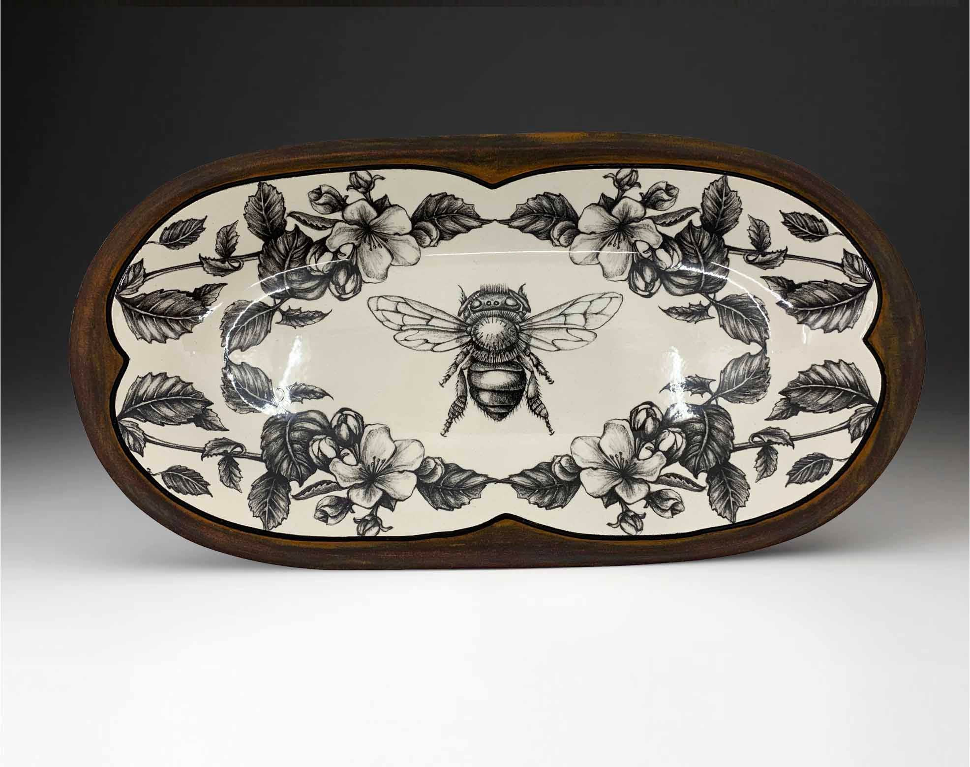 Rectangular Serving Dish - Honey Bee with Apple Blossom