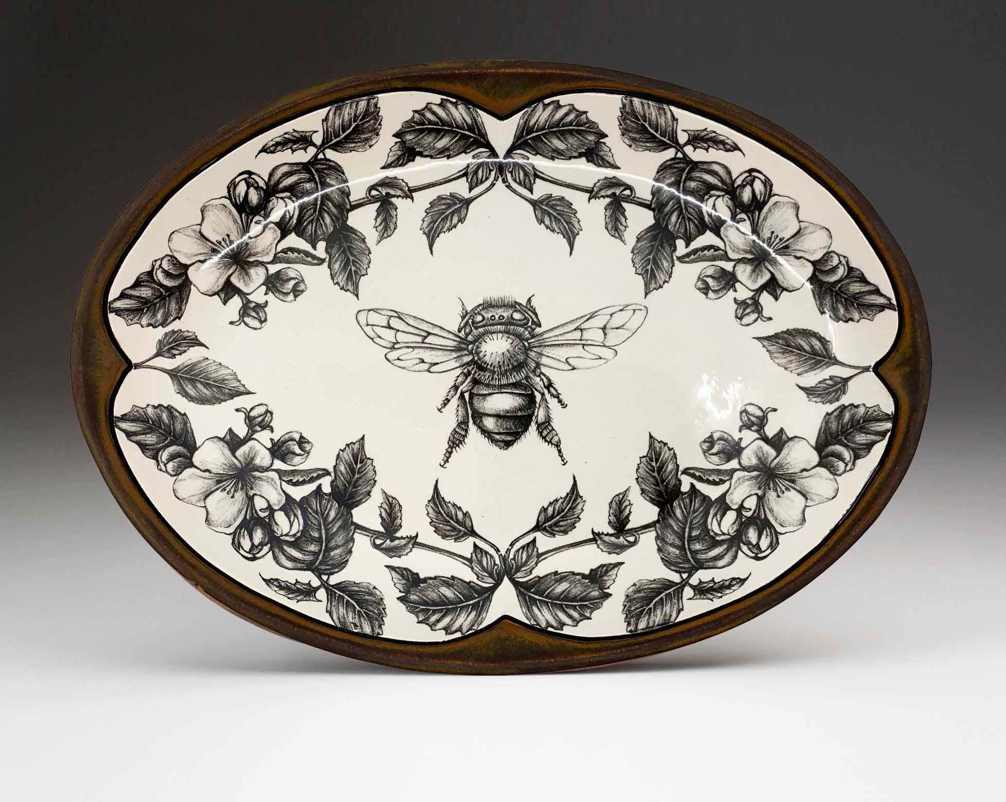 Oval Serving Platter - Honey Bee with Apple Blossom