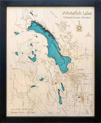 Etched Wall Art - Whitefish Lake and Town - Large