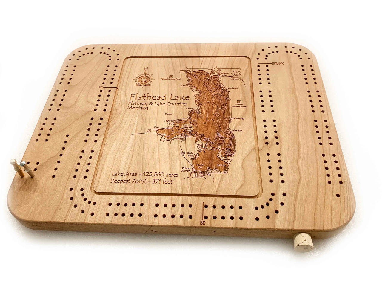 Etched Cribbage Board - Flathead