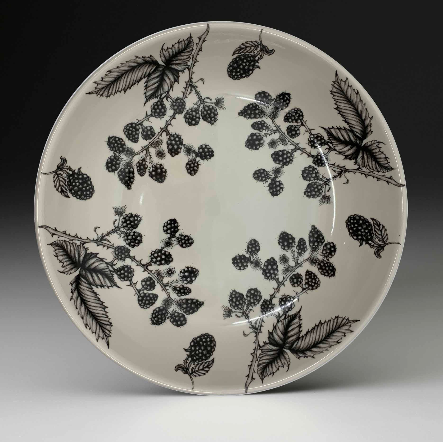 Shallow Serving Bowl - Blackberries