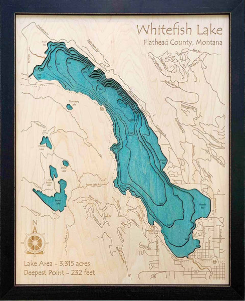Etched Wall Art - Whitefish Lake - Large