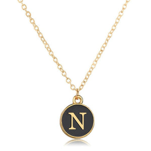 Black & Gold Mother of Pearl Initial Necklace