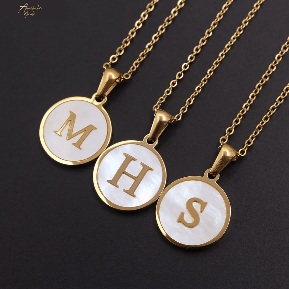 White & Gold Mother of Pearl Initial Necklace