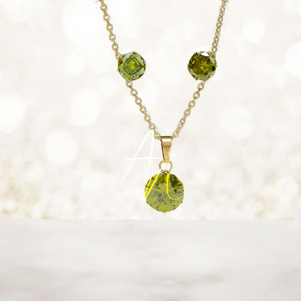 Birthstone Necklace and Earrings Set