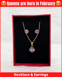 February Queen Necklace & Earrings Set (Amethyst)
