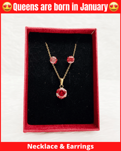 January Queen Necklace & Earrings Set (Garnet)