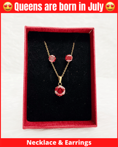 July Queen Necklace & Earrings Set (Ruby)