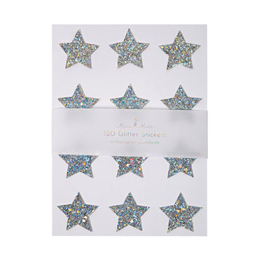 Silver Glitter Stars Sticker Sheets