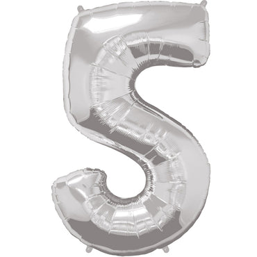 "34"" Silver Number 5 Foil Balloon"